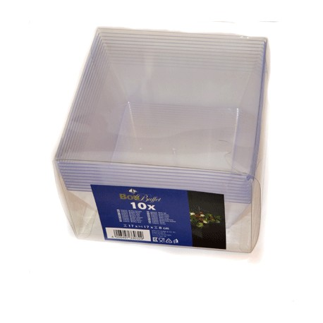 10pk fyrkantig buffeskål i transparent plast