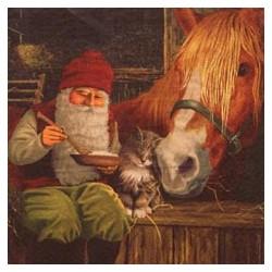 Julservett Tomte i stallet 33x33cm