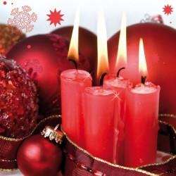Julservett röda ljus 33x33cm