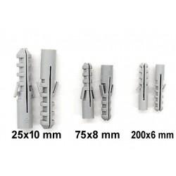 300stk Plugg 25x10mm 75x8mm 200x6mm