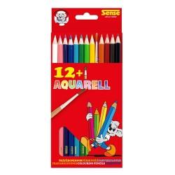 12 träfärgpennor + 1 akvarell pensel