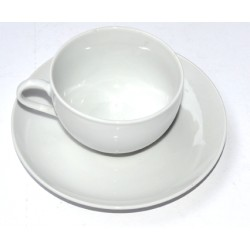 Kaffekopp Ø9cm H6cm med fat Ø16cm porselin