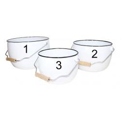 Emaljerad skål med handtag i tre storleker