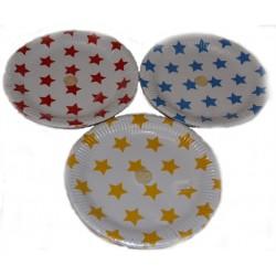 10stk papptallrikar stjärnor Ø23cm färg blå,gul,röd