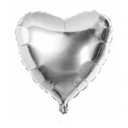 Folieballong Hjärta silver ca Ø 100cm luft eller hellium
