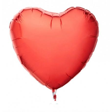 Folieballong hjärta röd ca Ø 100cm i omfång för luft och hellium