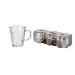 Sex stycken espressomuggar i glas med öra 70ml