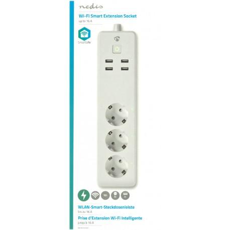 Wi-Fi smart grenuttag | 3x Schuko typ F | 4x USB | 16 A