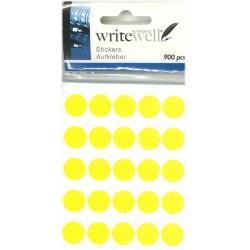 Etiketter runda gula Ø14mm 900stk