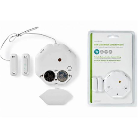 Tunn glaskrossdetektor med larm för dörrar och fönster | Inbyggd siren