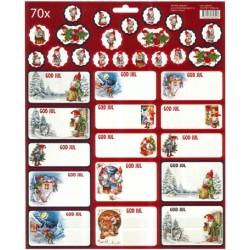 70stk juletiketter och stickers