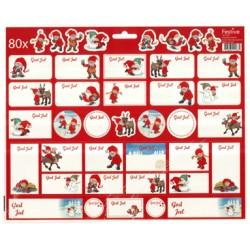 80 juletiketter och julstickers