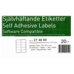 20stk självhäftande etiketter 57x99,1mm