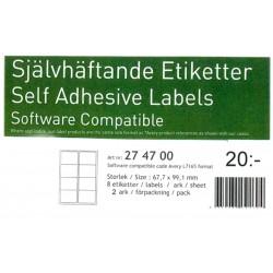 16stk självhäftande etiketter 67,7x99,1mm