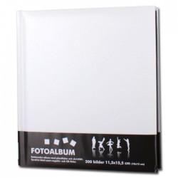 Bokbundet album vit med svarta blad 200 bilder