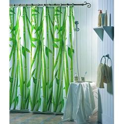 Bambuduschgardin 180 x 200 cm, Polyester, Vit / Grön