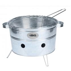BBQ bärbar grill rund stål 38 x 20 cm