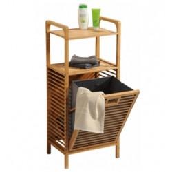 Badrumsställ med tvättkorg i bambu med vikbar tvättkorg 40x30x95 cm